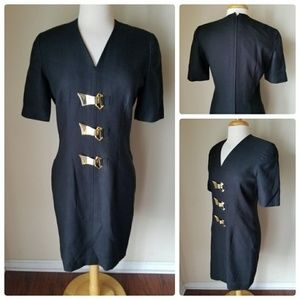 short sleeve black v-neck fitted dress with gold